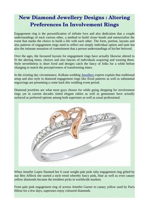 New Diamond Jewellery Designs : Altering Preferences In Involvem