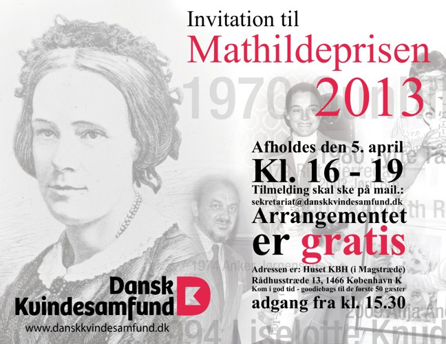 Invitation til Mathildeprisen 2013