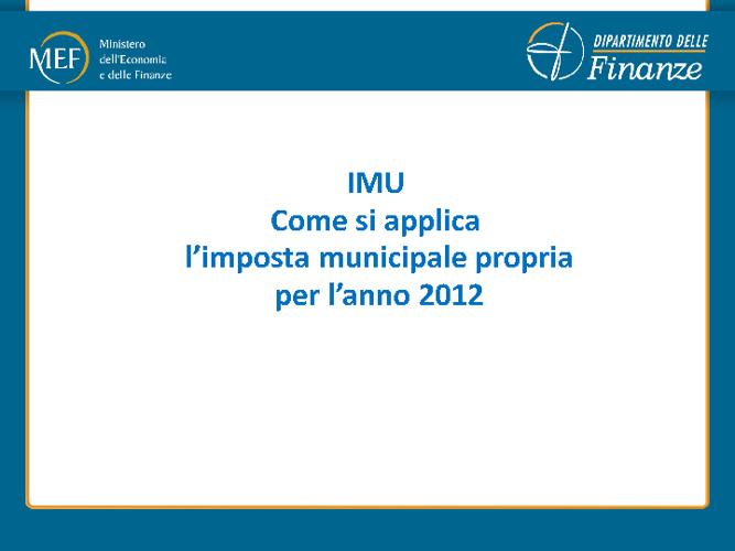 Modalità di Applicazione dell'IMU