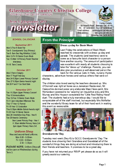 School Newsletter - 2nd Sept
