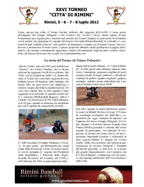 """Giornalino XXVI Torneo """"Città di Rimini"""""""