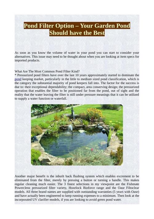 Pond Filter Option – Your Garden Pond Should have the Best
