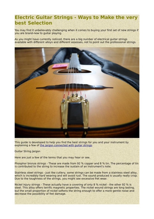Electric Guitar Strings - Ways to Make the very best Selection