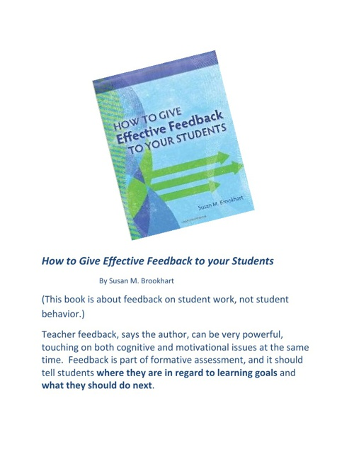 How to Give Effective Feedback to Your Students/ Brookhart