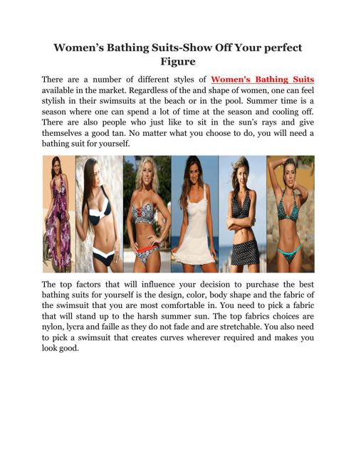 Women's Bathing Suits-Show Off Your perfect Figure