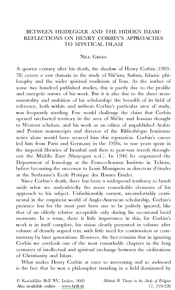 Between Heidegger and the Hidden Imam