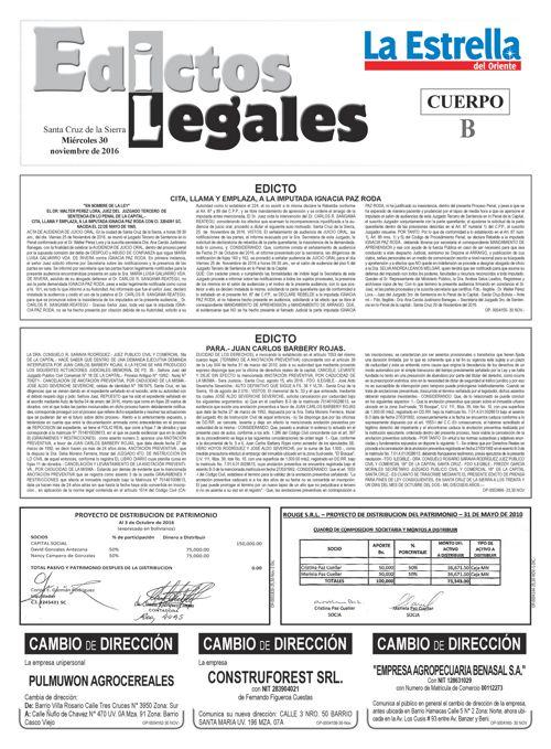 Judiciales 30 miércoles - noviembre 2016