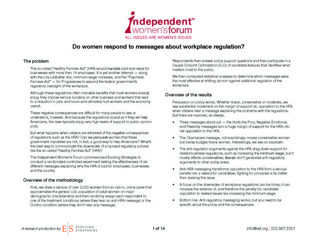 Do Women Respond To Messages About Workplace Regulation?