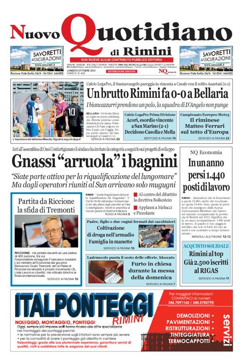 Nuovo Quotidiano di Rimini del 8 ottobre 2012