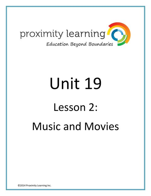 CHN 4 Unit 19 Lesson 2:  Movies and Music