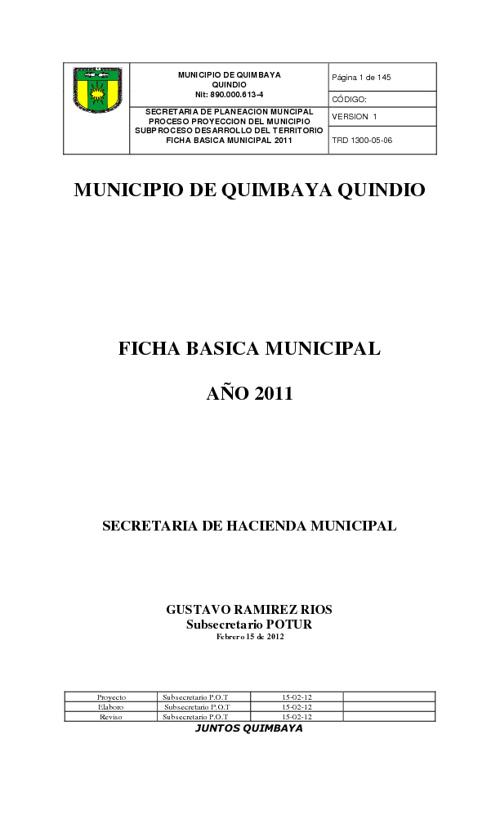 Ficha Básica Quimbaya
