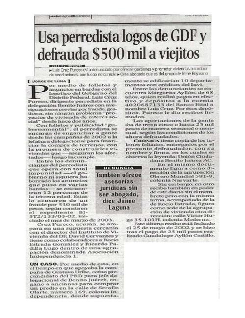 Usa perredista logros de GDF y defrauda $500 mil a viejitos