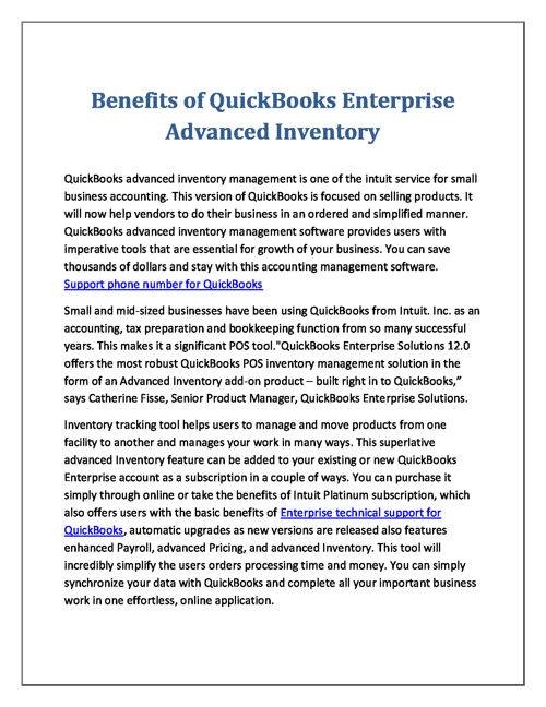 Benefits of QuickBooks Enterprise Advanced Inventory