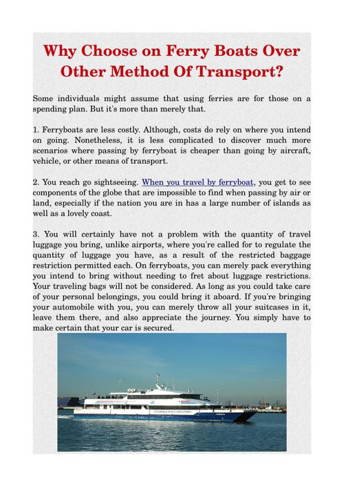 Why Choose on Ferry Boats Over Other Method Of Transport