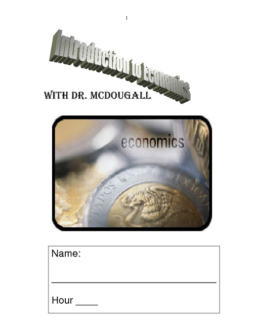 Everybody's Economics - Dr, McDougall (Class Resource Text)