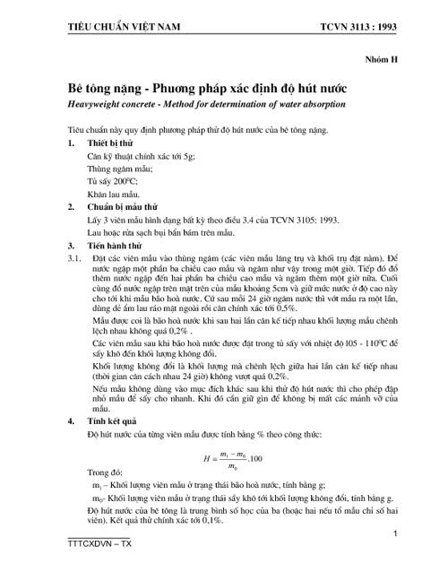 TCVN3113-1993-be tong nang-pp xac dinh do hut nuoc