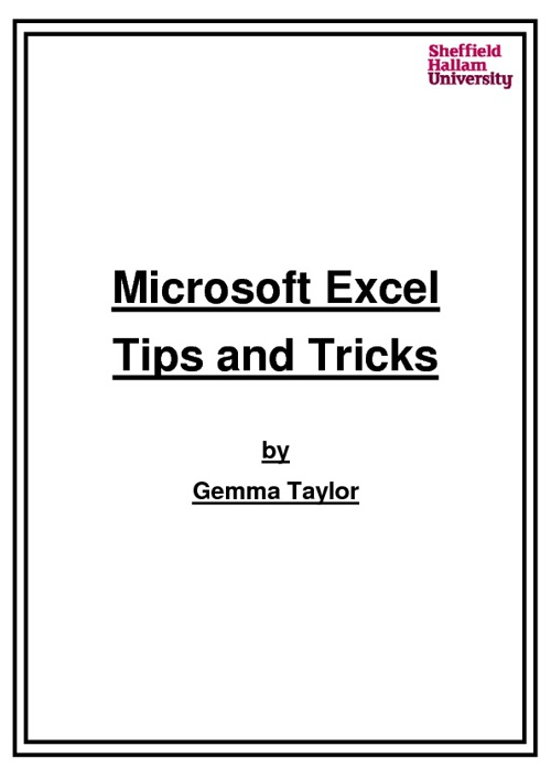 Excel Tips and Tricks by Gemma Taylor
