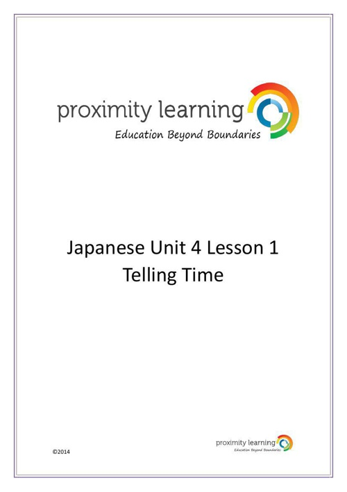 JPN Unit 4 Lesson 1: Telling Time