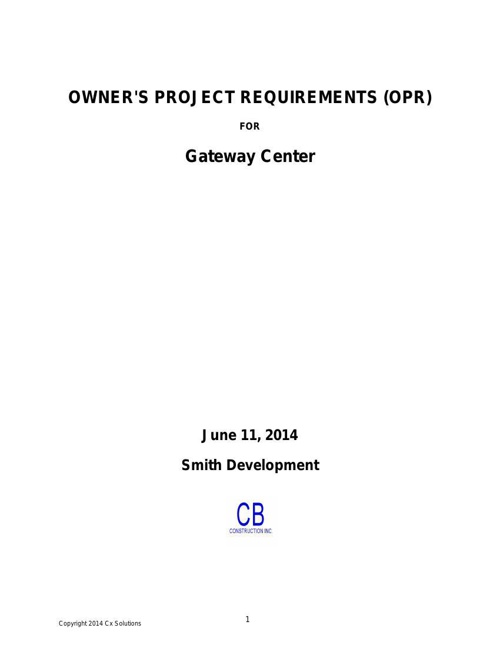 Owner's Project Requirements
