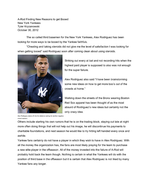 A-Rod Finding New Reasons to get Booed