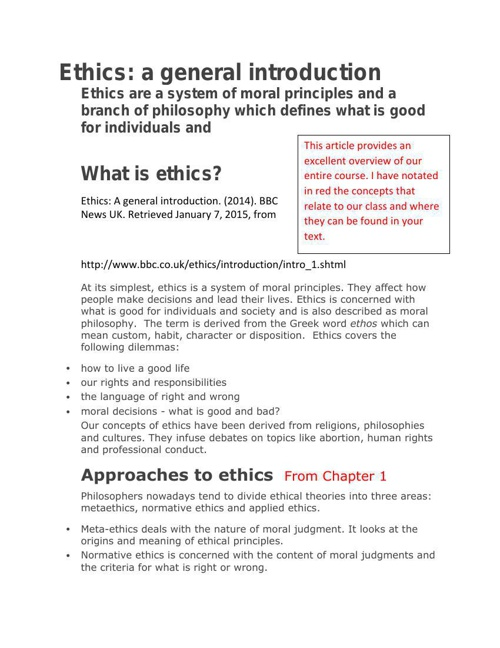 What is ethics Overview of course BBC1