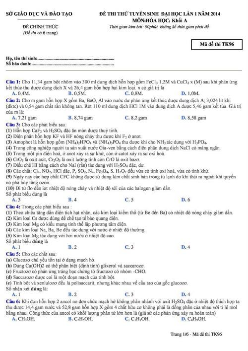Đề thi thử lần 1 - 2014 - Môn Hóa học - Bộ Giáo Dục Và Đào Tạo