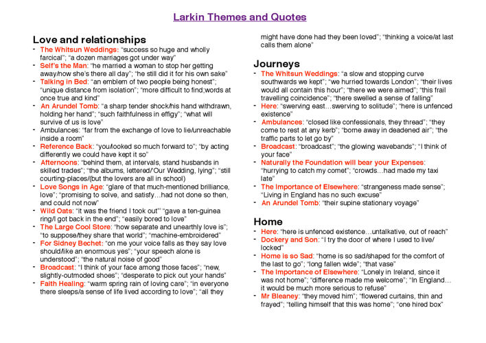 Larkin and Abse themes + quotes