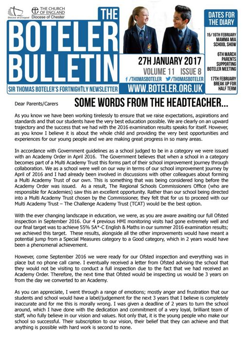 Boteler Bulletin 27th January 2017