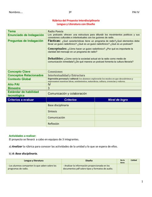 Copia de Rúbrica Interdisciplinario