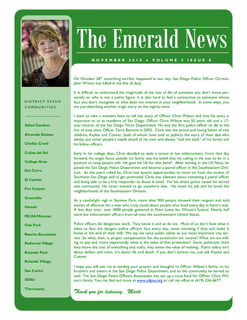 The Emerald News: Volume 2, Issue 8 (November 2010)