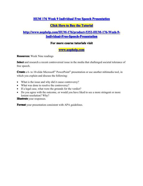 HUM 176 Week 9 Individual Free Speech Presentation