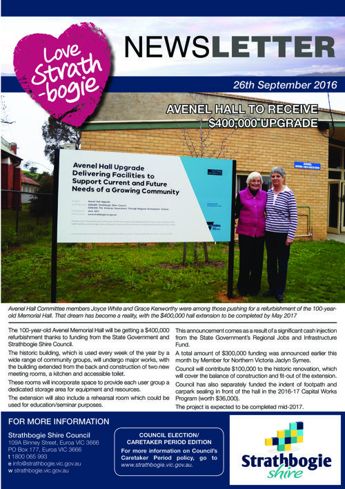 Love Strathbogie Newsletter  26/09/2016
