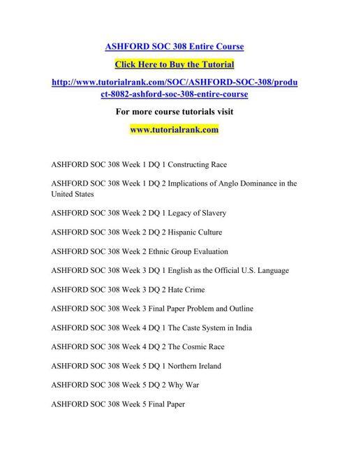SOC 308 Learning Consultant / tutorialrank.com