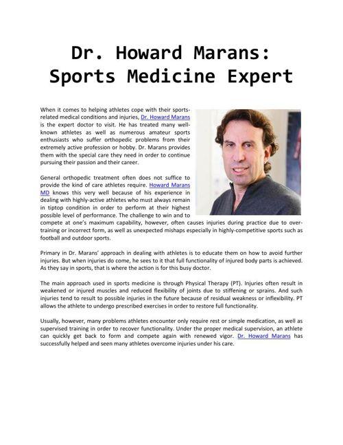 Dr. Howard Marans: Sports Medicine Expert