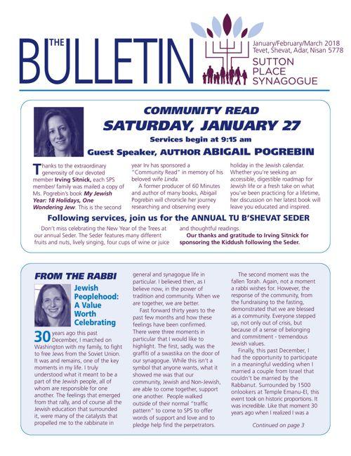 January, February, March 2018 Bulletin