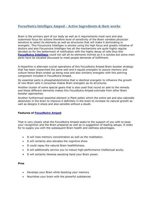 Is Focusnutra Intelligex brain booster effective?