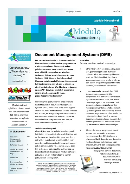 Modulo Nieuwsbrief - 2011 - editie 2