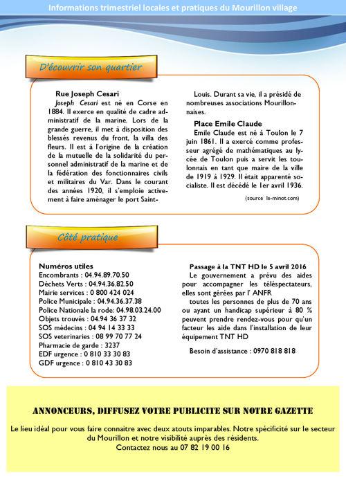 Les Infos du Mourillon village 1er trimestre 2016