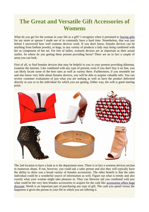 The Great and Versatile Gift Accessories of Womens