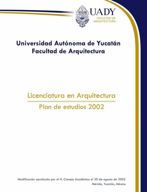 Plan estudios Arquitectura FAUADY