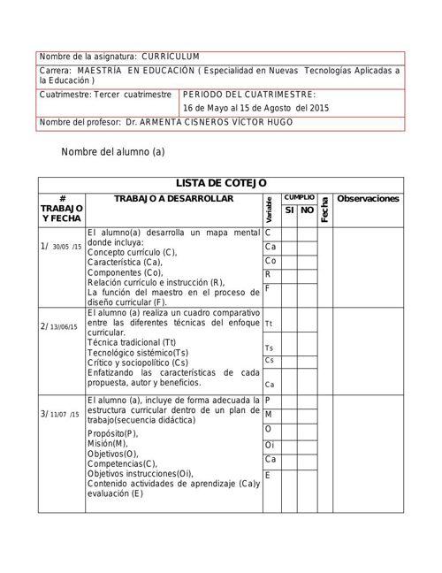 Lista cotejo Currículum