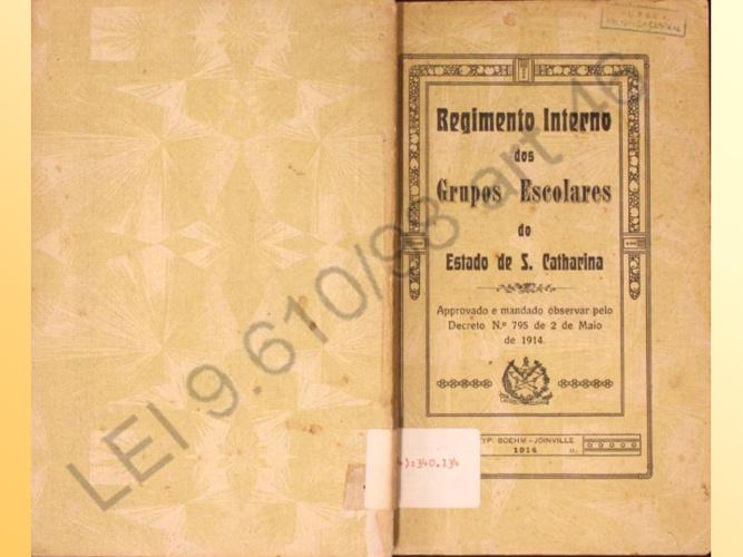 Regimento Interno dos Grupos Escolares SC - 1914
