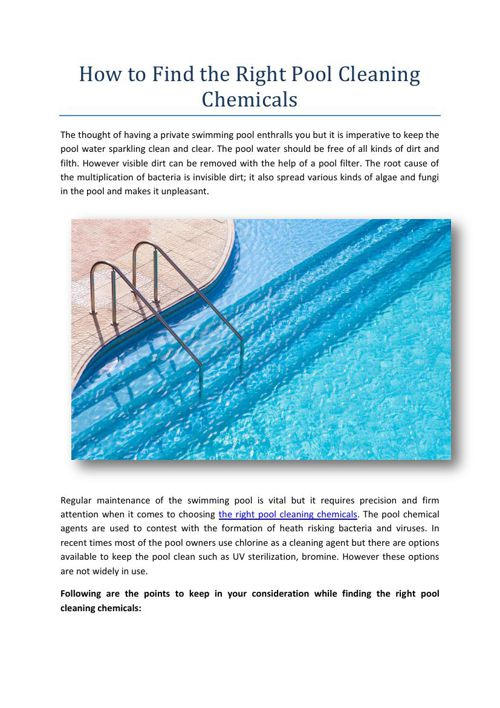 How to Find the Right Pool Cleaning Chemicals