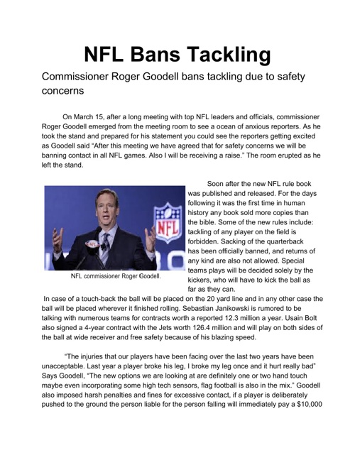 Lami- NFL Bans Tackling Satire