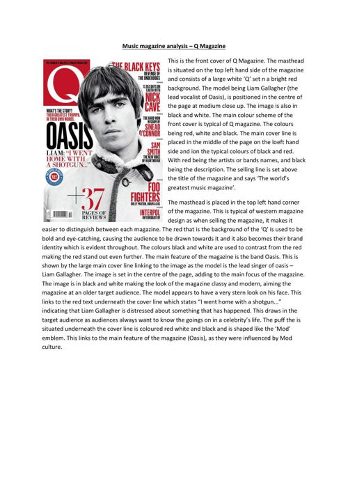 Music magazine analysis - Q Magazine