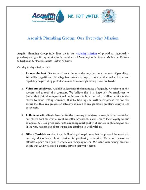 Asquith Plumbing Group: Our Everyday Mission