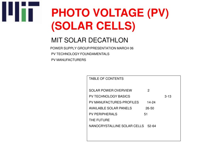 Photo Voltage Cells Technology | MIT Decathlon