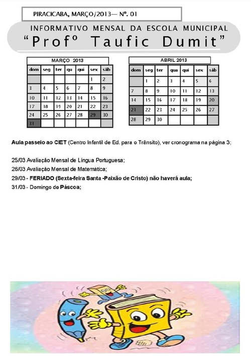 Informativo Mensal - Março 2013