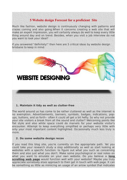 5 Website design Forecast for a proficient  Site
