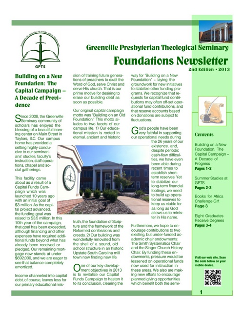 Foundations Newsletter - 2nd Edition 2013